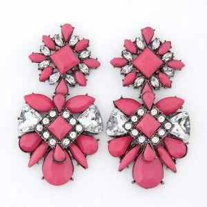 Rhinestone Inlaid Flowers Pattern Resin Ear Studs - Rose