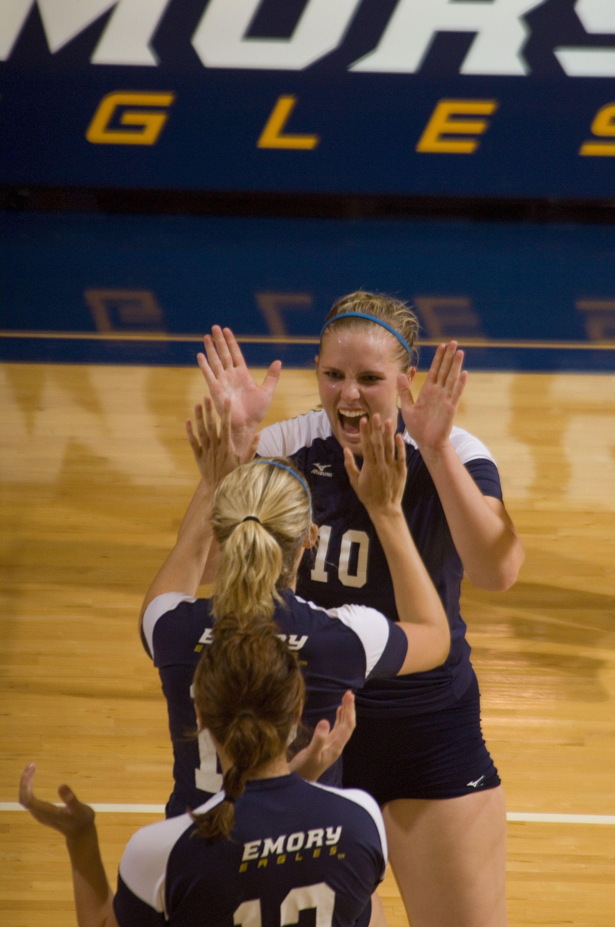 Freshman Dana Holt Celebrates A Great Win For The Emory Volleyball Team