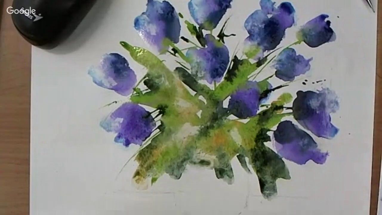 Loose Watercolours Purple Floral With Andrew Geeson Aquarelle