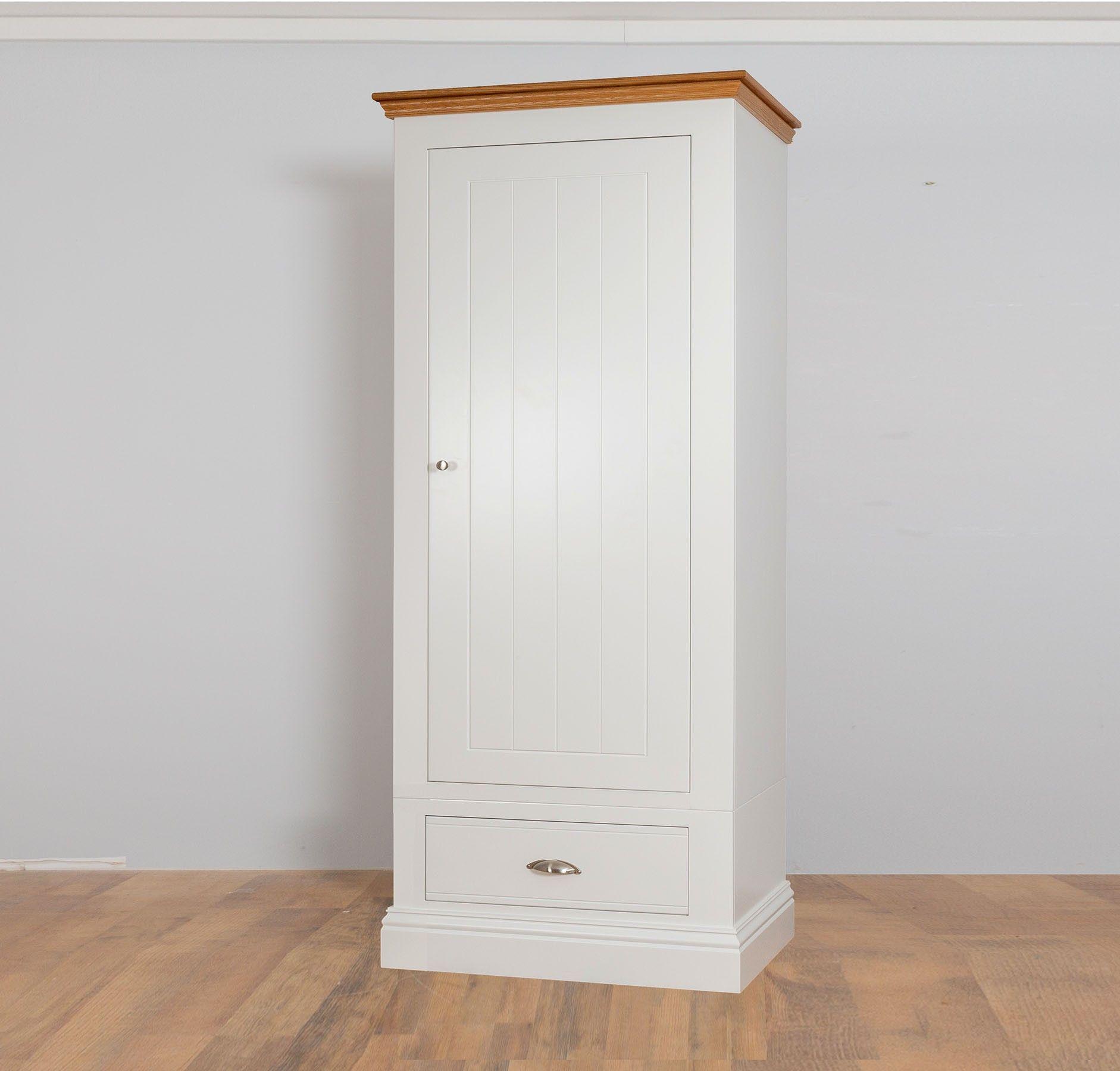 New England 50cm Wide Painted 1 Door Drawer Wardrobe In 2 Heights