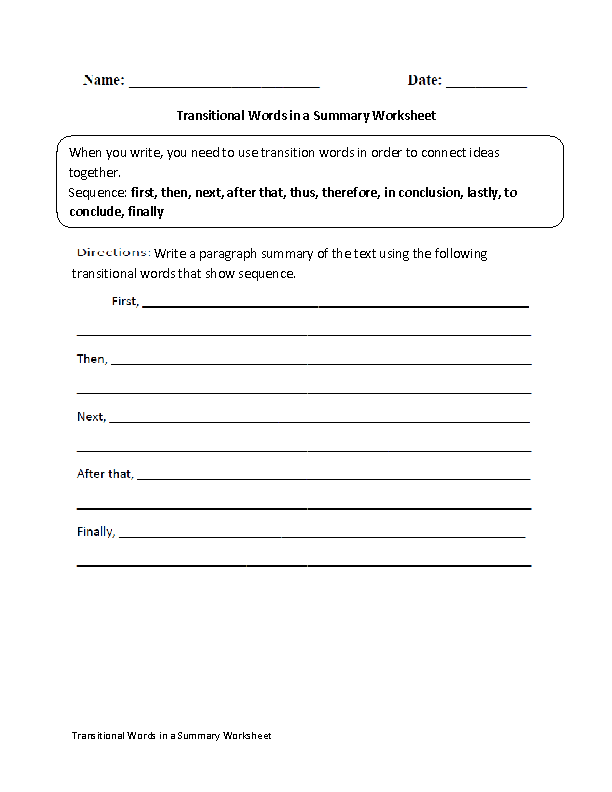 Transitional Words in a Summary Worksheet … | Pinteres…