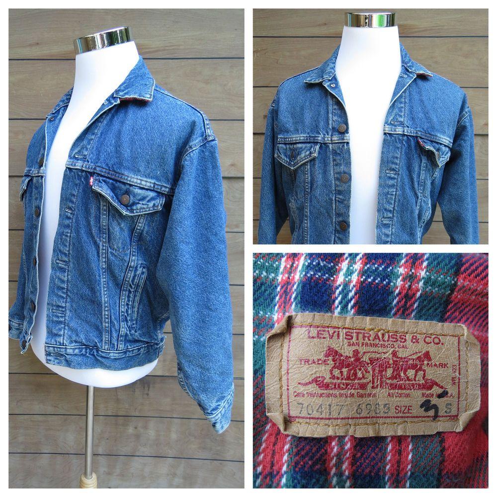 Vintage Levis Denim Jean Jacket Red Plaid Flannel Lined Mens Small