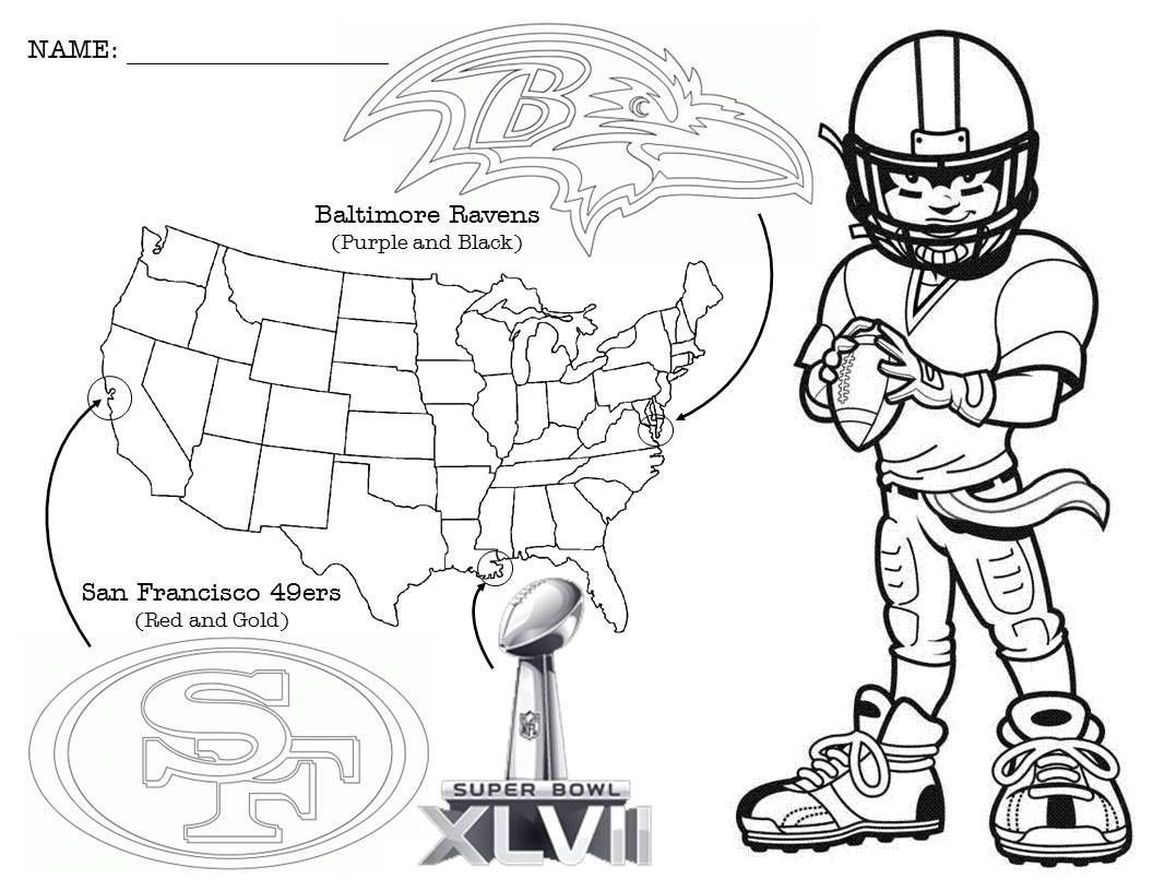 Super Bowl Coloring Page With A Little Geography Thrown