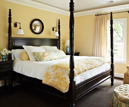 Master bedroom. Love the dark wood of the poster bed against the ...