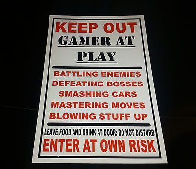 Funny Keep Out Gamer At Play Bedroom Door Plaque Xbox, Playstation