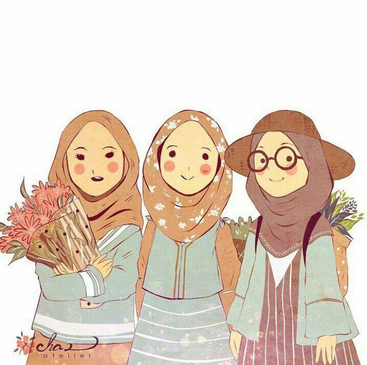 3 Friend Muslim Art Dengan Gambar Kartun