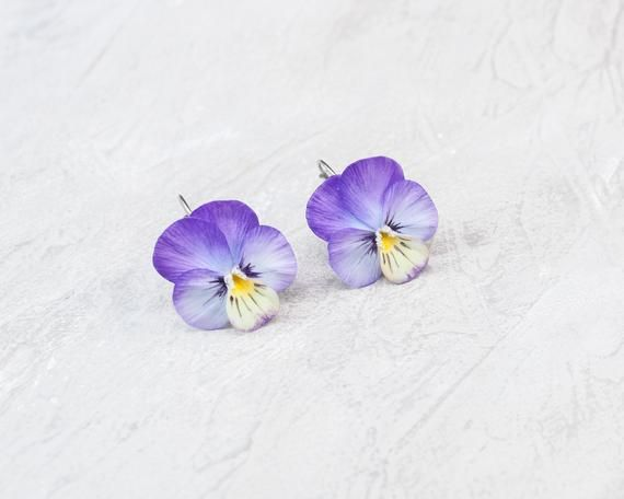 Photo of Pansy earrings Realistic viola flower Earrings Purple pansy Floral earrings air dry clay Pansies jew