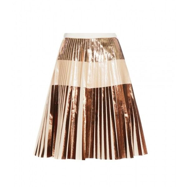 Proenza Schouler Metallic Pleated Skirt (34,645 MXN) ❤ liked on Polyvore featuring skirts, bottoms, dresses, mini skirts, metallic, pleated skirt, proenza schouler, knee length pleated skirt, metallic pleated skirt and metallic skirt