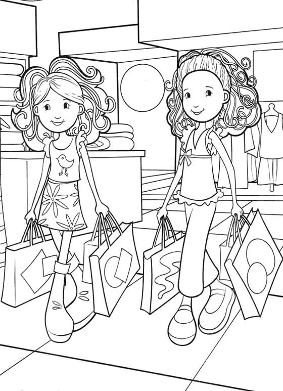 Groovy girls shopping coloring pages