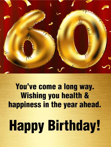 Golden Happy 60th Birthday Balloon Card Birthday Greeting Cards By Davia Happy 60th Birthday Wishes Happy 60th Birthday 60th Birthday Cards