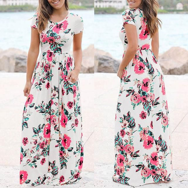895ca61aa735 2018 Spring Summer Dress Women Floral Print Floor Length Dress Bohemian Long  Sleeve Beach Dress Casual O Neck Maxi Robe Kaftan