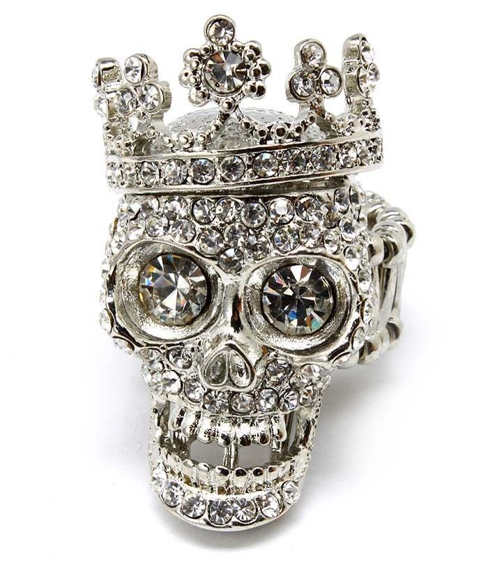 SILVER CRYSTAL SKULL LADIES FASHION STRETCH RING - Silver Rings - Costume Jewellery Rings - Jewellery