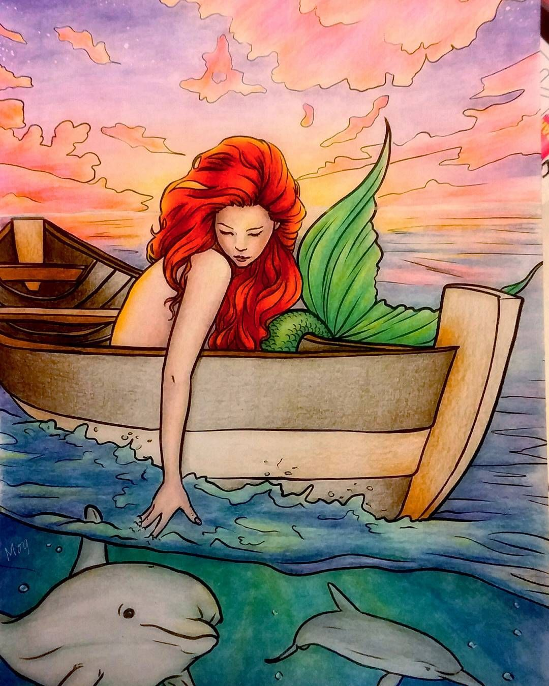 #colorselina  #mermaids  #coloringbook  #adultcoloringbook  #prismacolor  #dolphin  #colouring  #audreymog