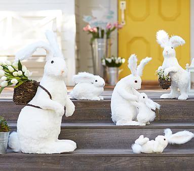 White Sisal Bunny Decor Paper Flower Decor Easter Eggs