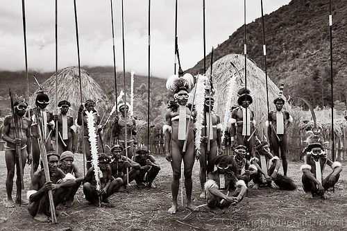 Group Portrait Of Dani Tribe In Baliem Valley Festival West Papua