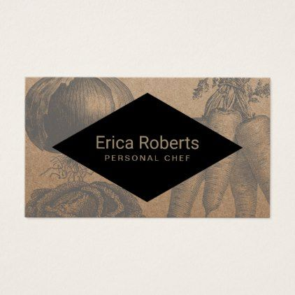 Chef catering vintage vegetables rustic kraft business card reheart Images
