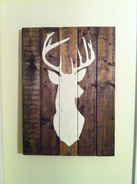 4582fb91201fe Deer head wooden sign buck art large deer sign by Barnettbuilding ...