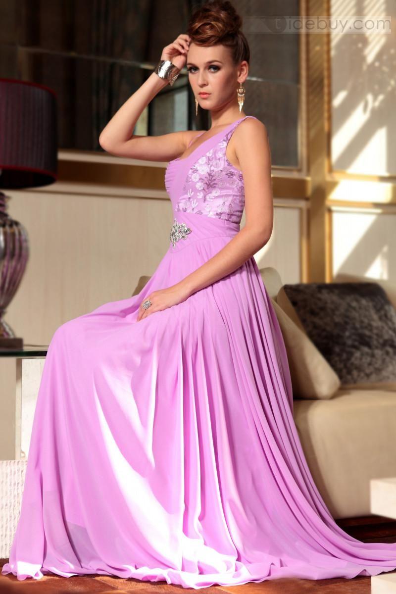 Asombroso Vestido de Noche Prom de Un Hombro y Largo al Piso (Envío ...