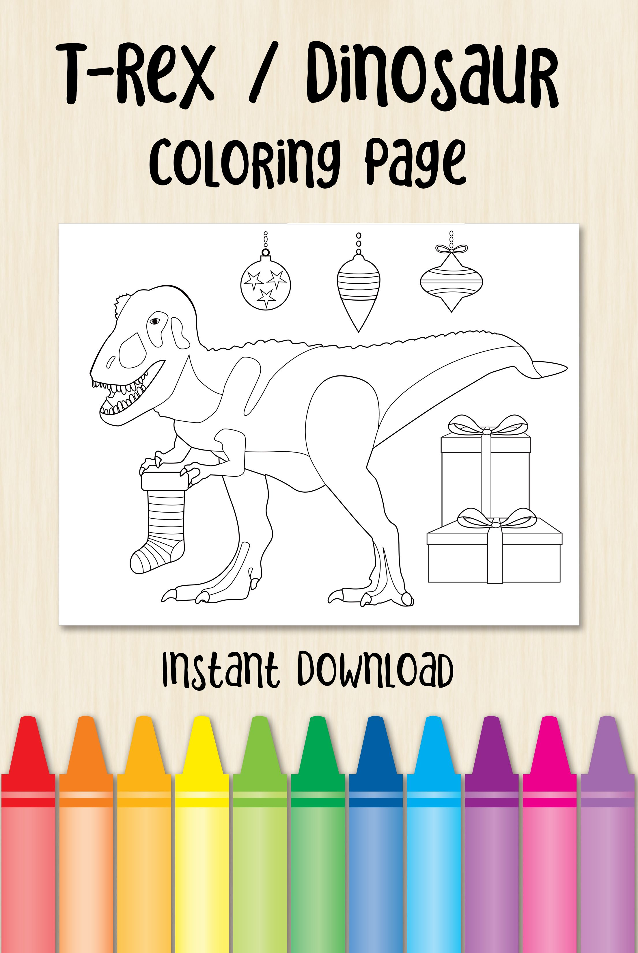 T Rex Dinosaur Christmas Coloring Page Excellent Activity For Your Toddlers And Kids Even Coloring For Kids Christmas Coloring Pages Dinosaur Coloring Pages
