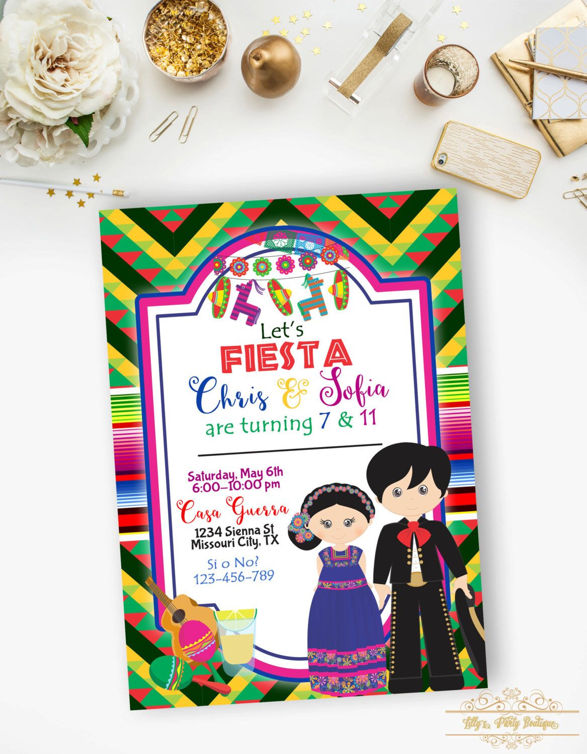 Fiesta Mexican Birthday Invitation, Brother and Sister Fiesta Invite ...