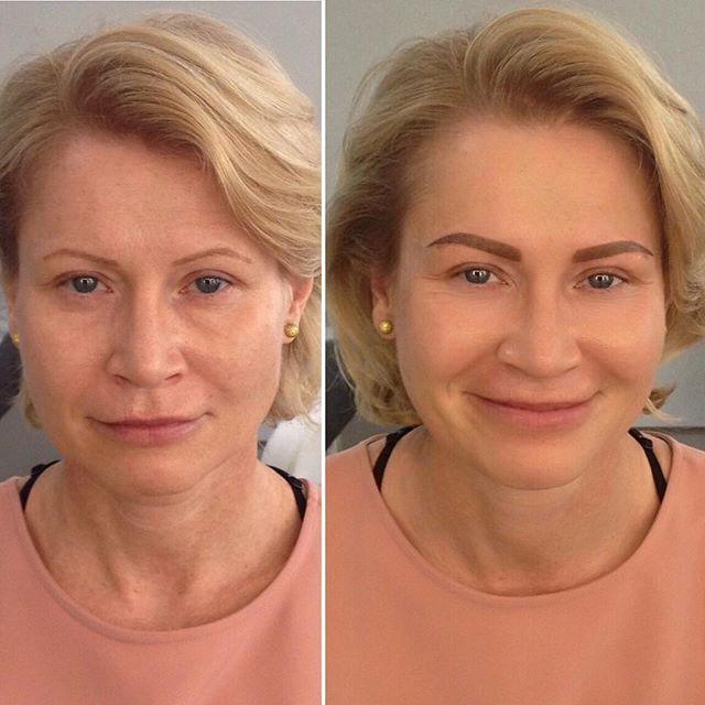 Фото до с эскизом клиента и после с бровками от мастера ...