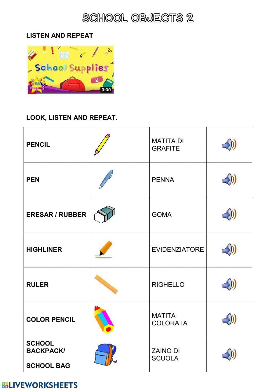 School Objects 2 School Objects Online Worksheet English As A Second Language Esl School English As A Second Language [ 1413 x 1000 Pixel ]