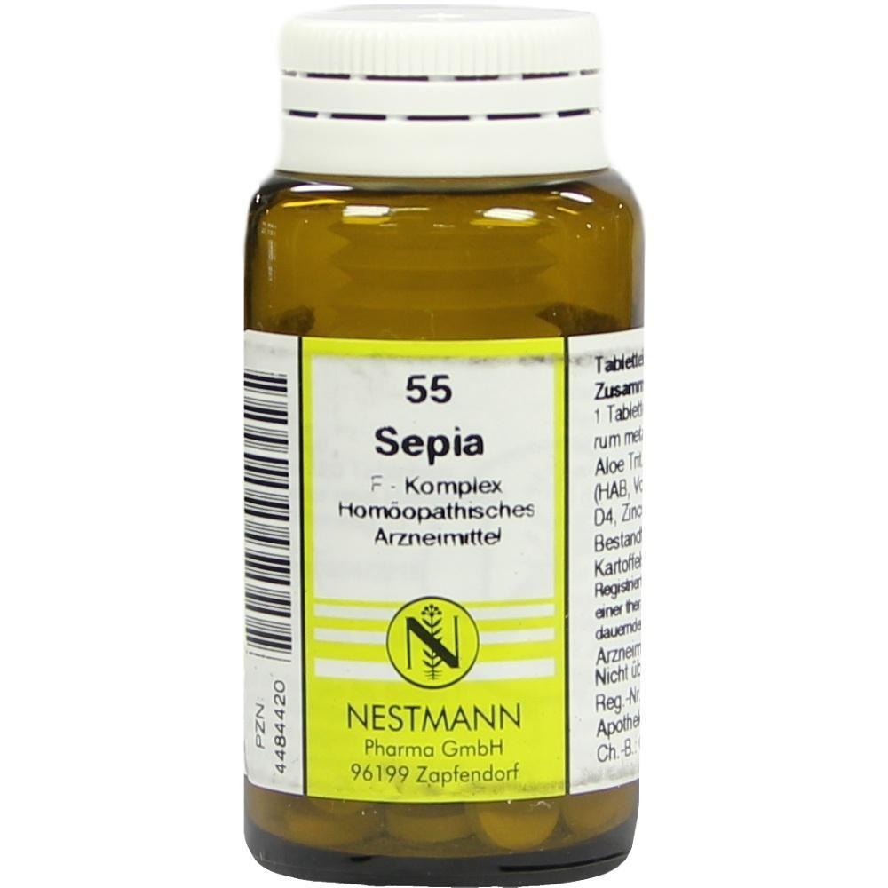 SEPIA F Komplex Nr.55 Tabletten:   Packungsinhalt: 120 St Tabletten PZN: 04484420 Hersteller: NESTMANN Pharma GmbH Preis: 5,10 EUR inkl.…