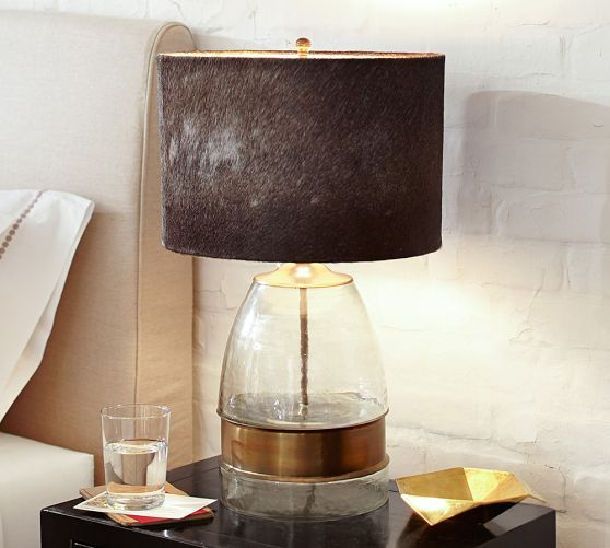 Rhea Cow Hide Lamp Shade Lamp Bases Floor Lamp Base Metal Table Lamps