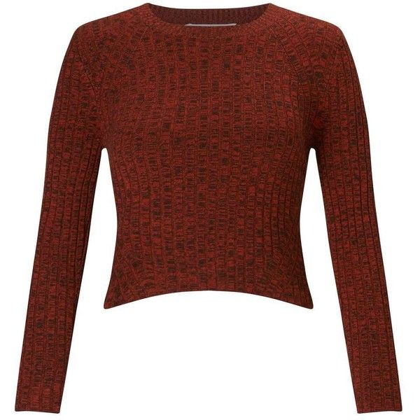 Miss Selfridge PETITE Rust Crop Rib Jumper (2.805 RUB) ❤ liked on ...