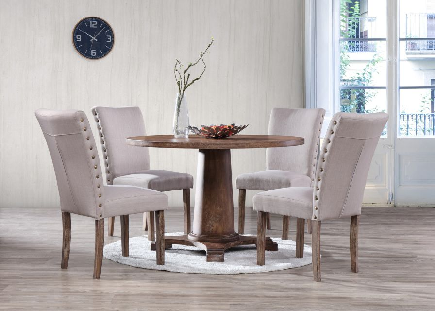 The Carey Dining Set Features An Antique Natural Oak Color Made Of Solid Wood With Birch Veneer Table Top Is Round 48 X Enough To Fit 4