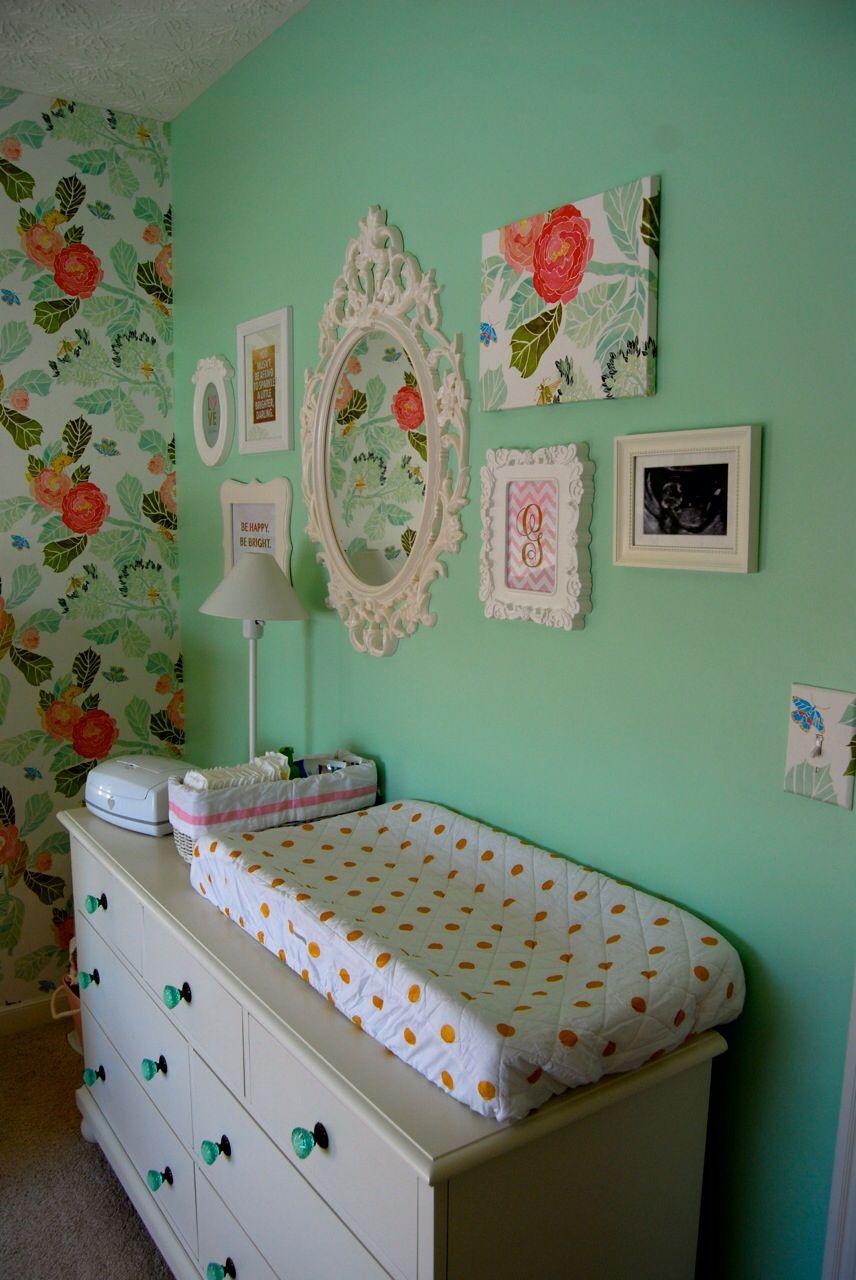 Baby Girl Nursery mint & pink Nursery accent wall, Baby