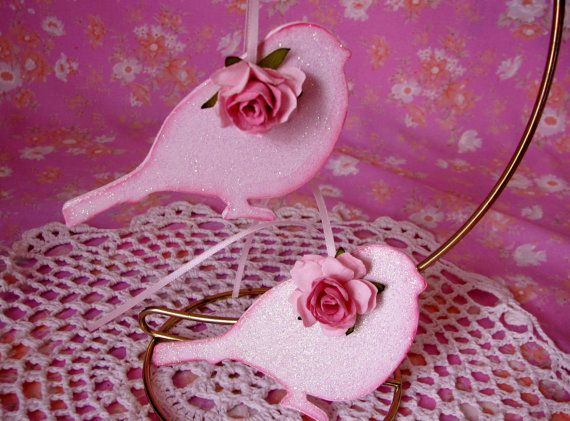 Pink Bird Ornaments Hand Painted Shabby chic by pinkrose1611, $12.00
