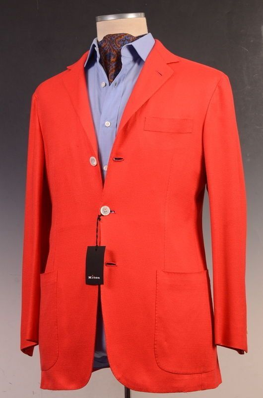 KITON Napoli Red Silk Summer Blazer Jacket EU 50 NEW US 38 40 Soft