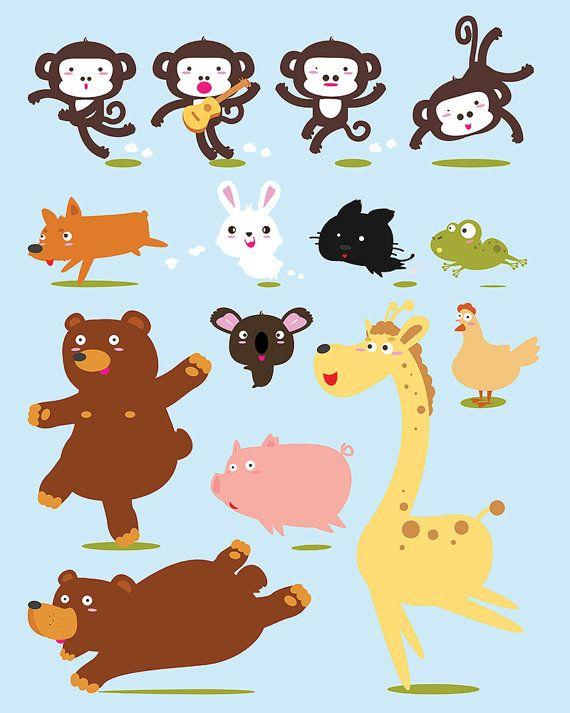 80 Off Funny Animals Cartoon Vector Illustration Vector Clip Etsy Cartoon Clip Art Cartoon Animals Cartoons Vector