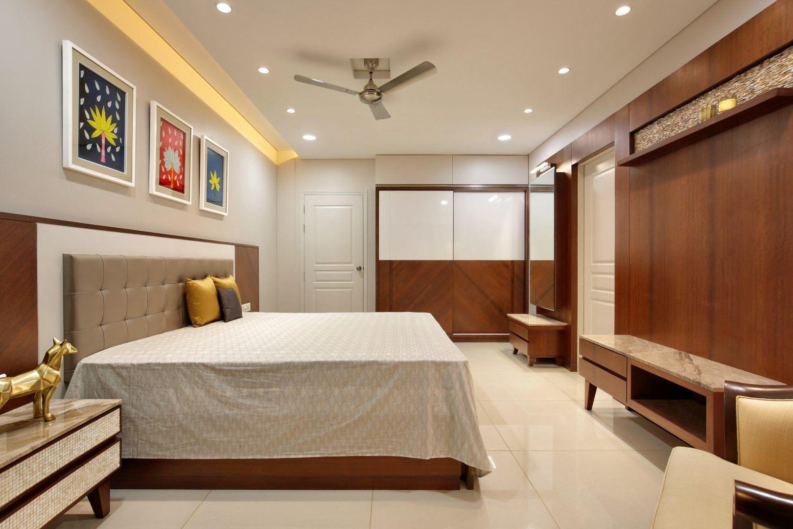 3 Bhk Flat Interiors The Oak Woods Bedroom False Ceiling