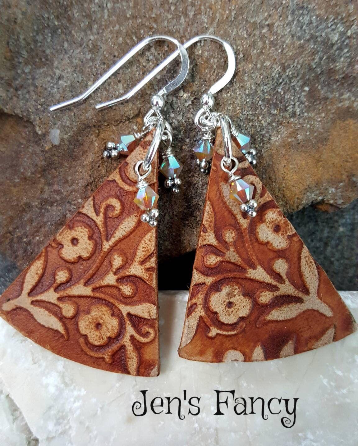 Photo of Floral Leather Earrings, Sterling Silver, Leather Jewelry, Boho Earring, Bohemian Jewelry, Gift for Her, Long Earrings, Jen's Fancy, Brown