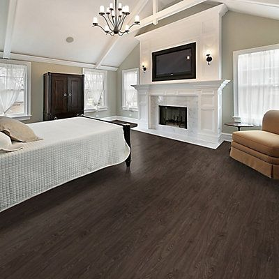 Traffic master elderberry dark resilient vinyl flooring for Dark wood linoleum flooring