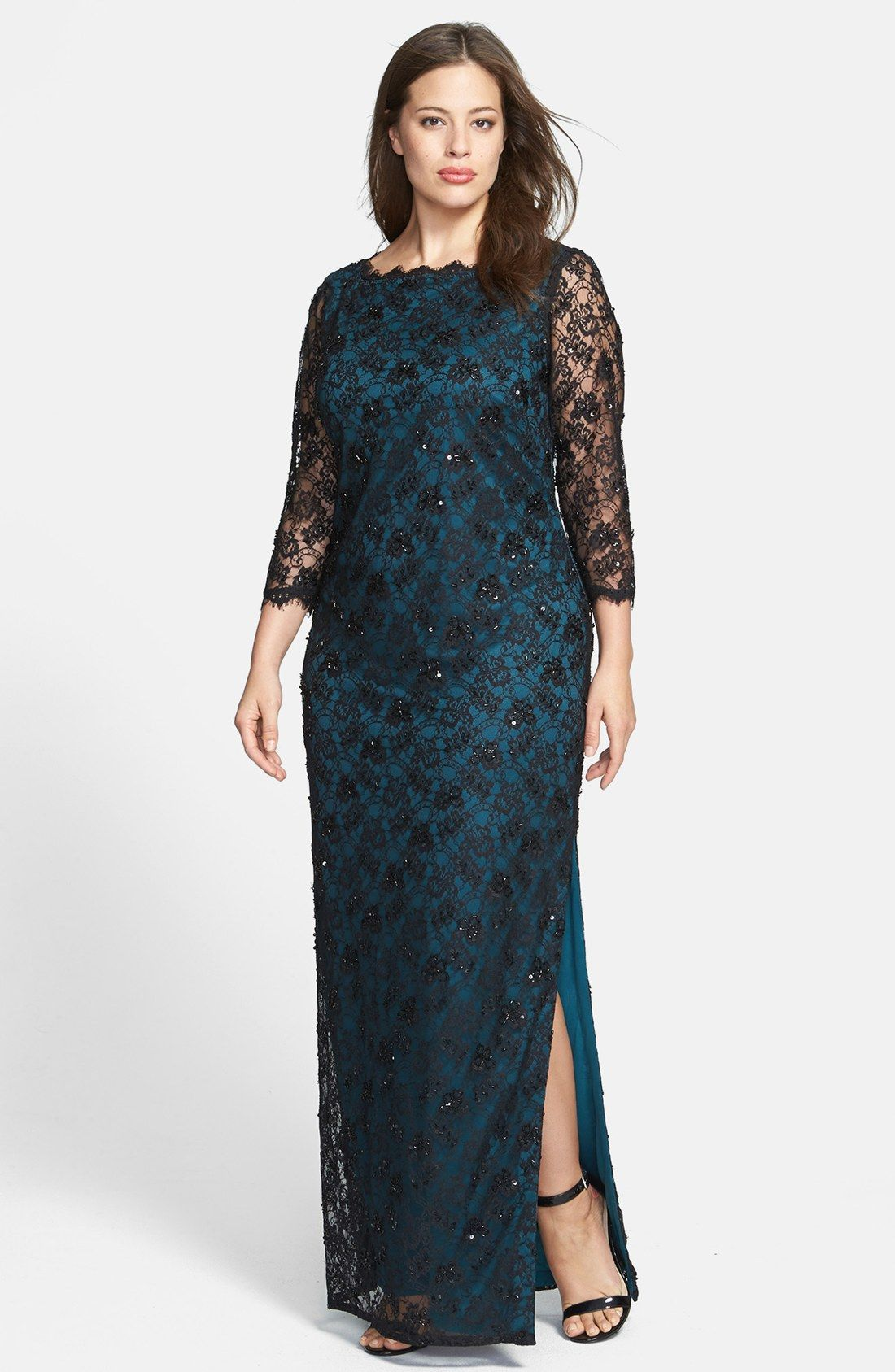 9923b73d9e7 Adrianna Papell Embellished Lace Gown (Plus Size)