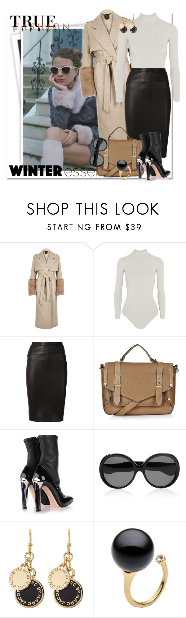"""""""Trendy Girls Rock in Winter"""" by msmith801 ❤ liked on Polyvore featuring GALA, River Island, Body Editions, Narciso Rodriguez, Topshop, Alexander McQueen, Yves Saint Laurent, Marc by Marc Jacobs and winteressentials"""