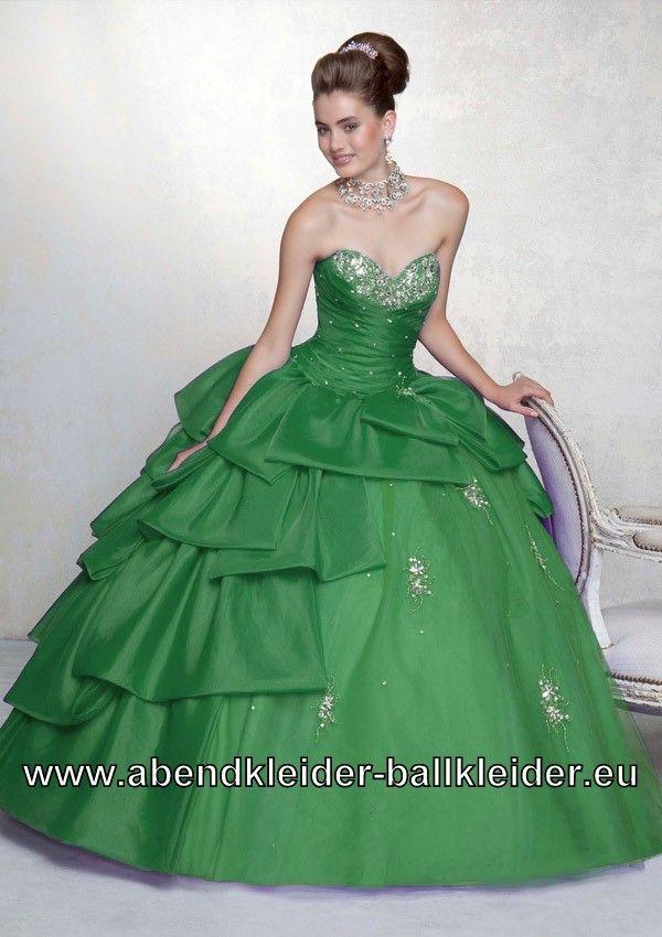 Grünes Tafft Ballkleid Brautkleid Online | Ballkleid