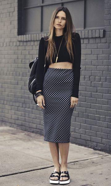 2960db80b Look: Cropped + Saia de Poá Midi | Moda | Moda estilo, Moda e Faldas ...
