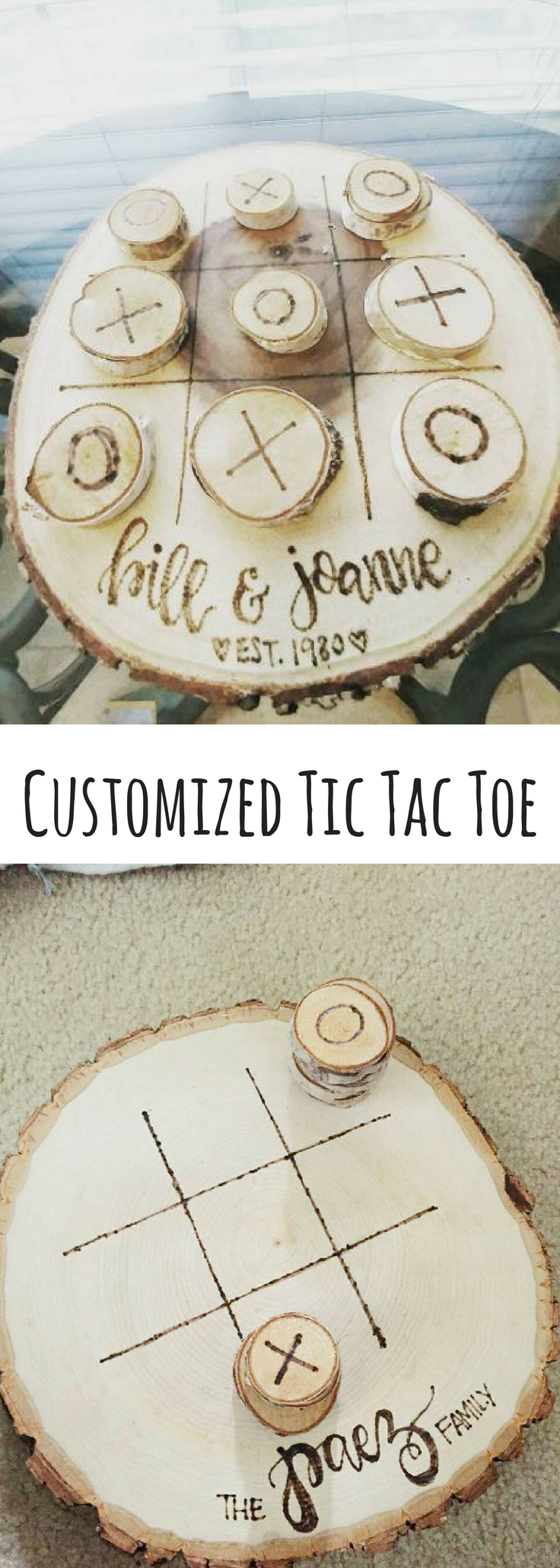 Tic tac toe personalized wood burned art on large thick wood round