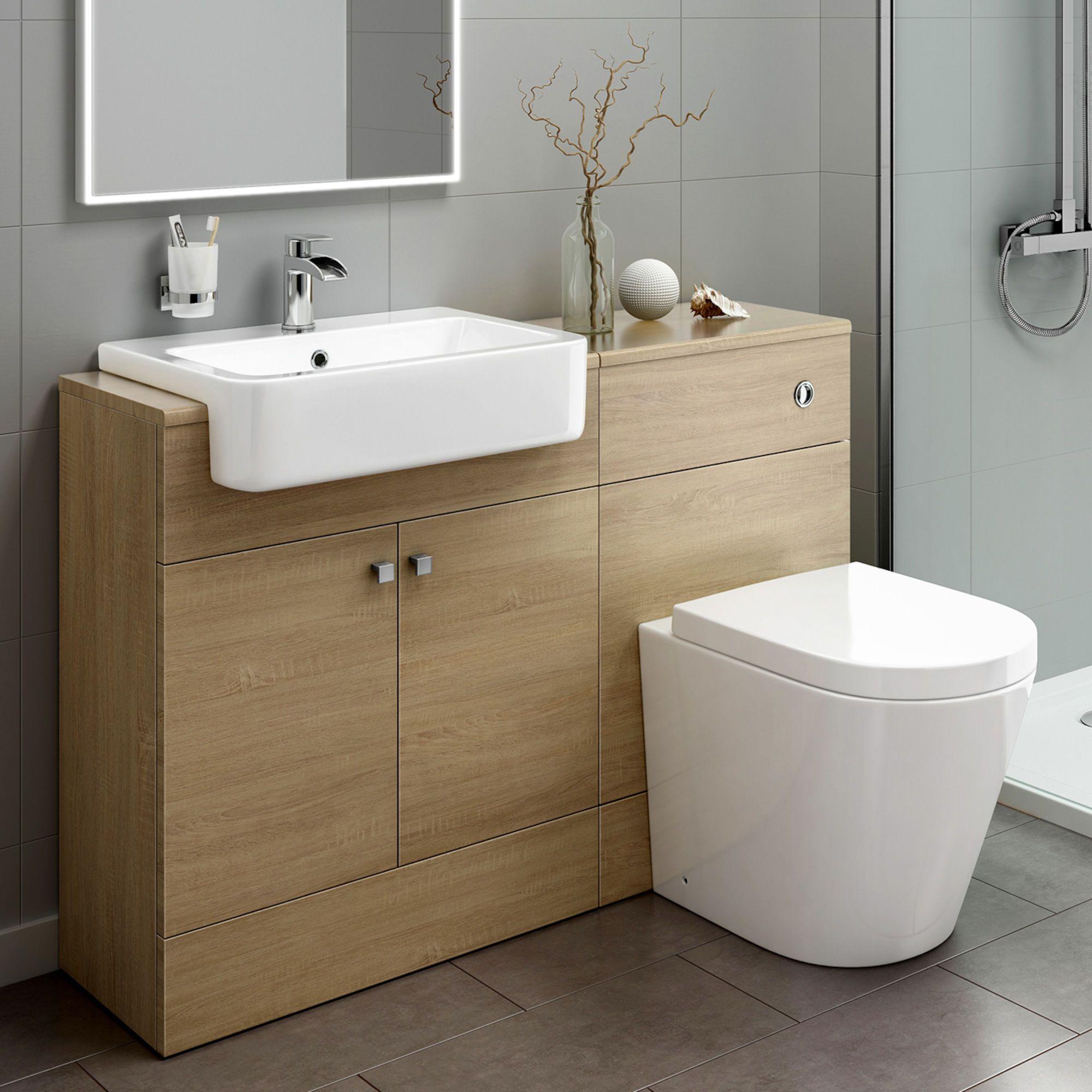 1160mm Harper Oak Effect Combined Vanity Unit Lyon Pan Soak Com Bathroom Furniture Storage Bathroom Units