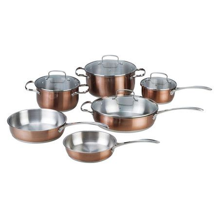 10 piece stainless steel cookware set in copper with tempered glass lids and stay cool handles. Black Bedroom Furniture Sets. Home Design Ideas