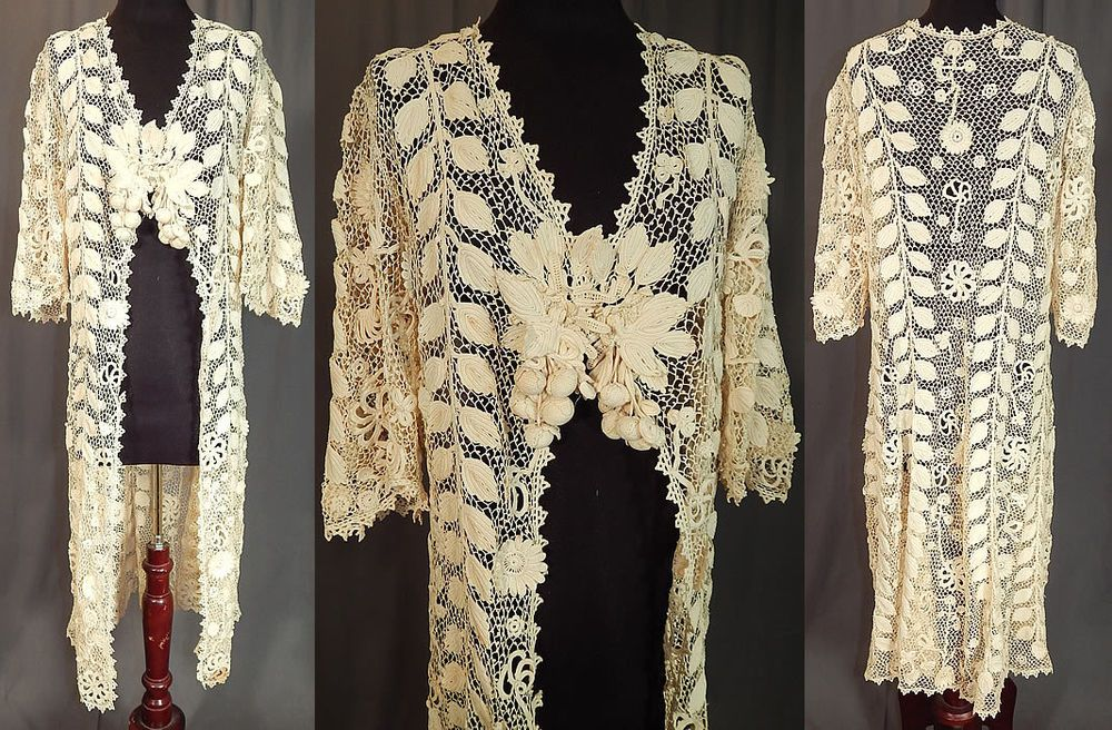 FAB! Vintage Edwardian Antique White Irish Crochet Lace Long Duster Coat Jacket