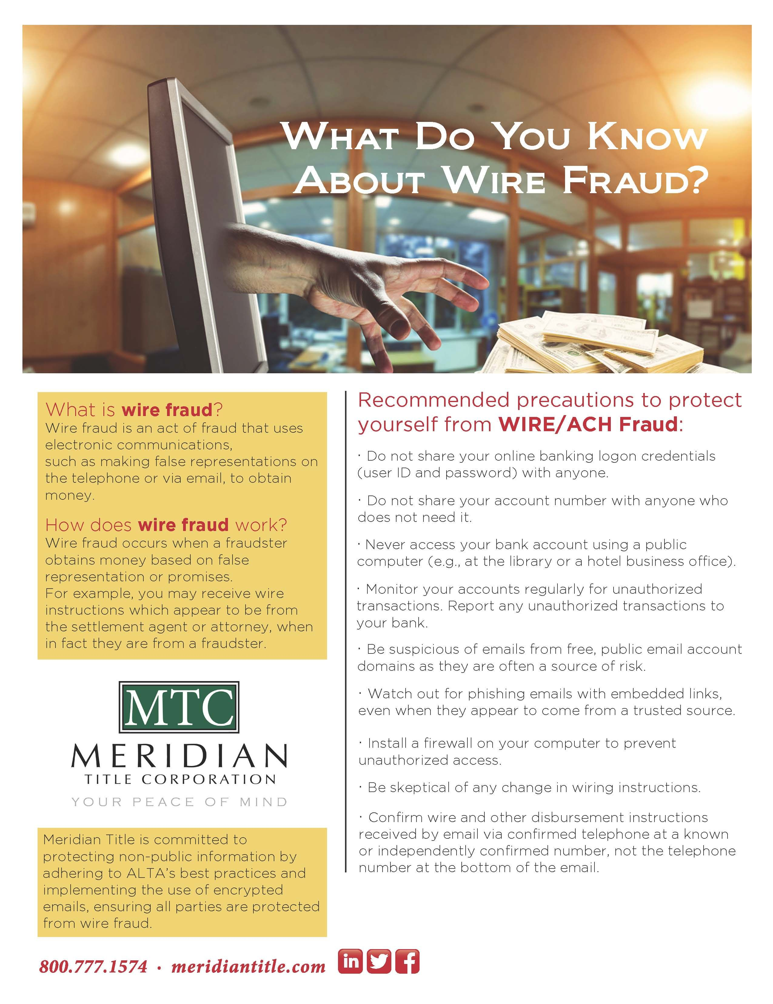 Pin By Meridian Title Corporation On Cyber Crime Wire Fraud