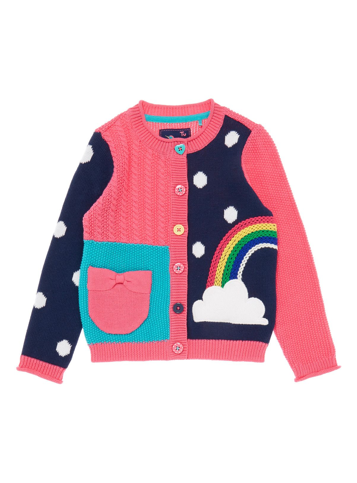 Crafted in cotton, this colourful rainbow cardigan is perfect for ...