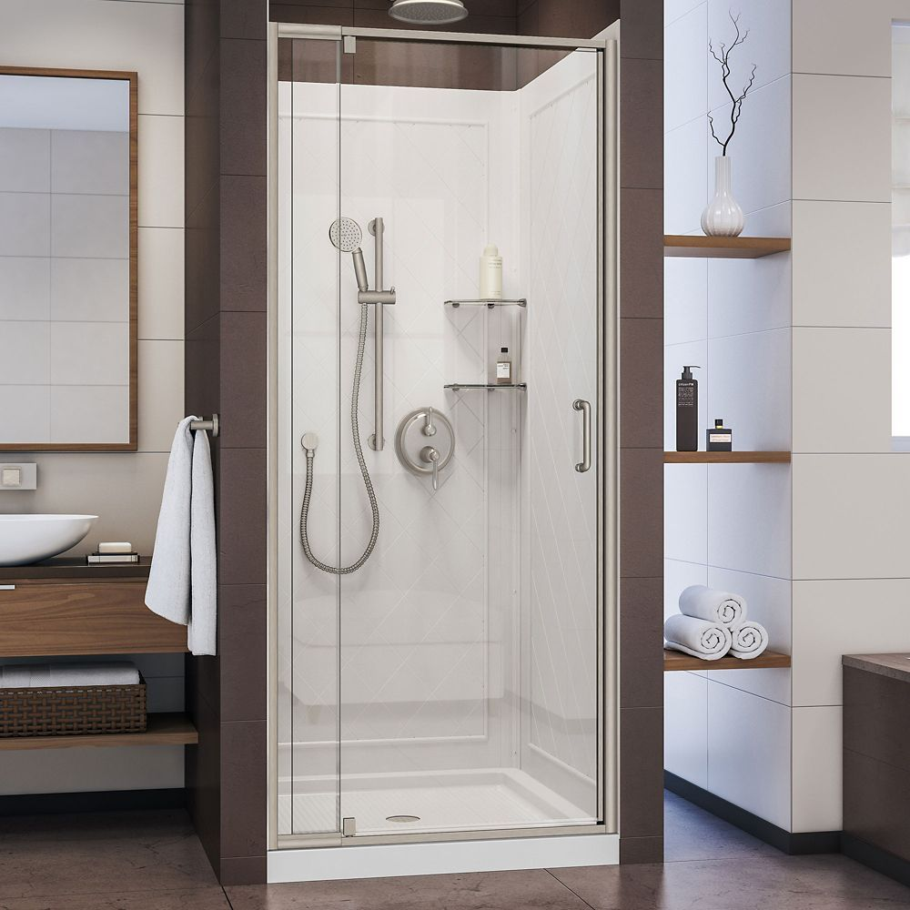 Flex 36 Inch D X 36 Inch W Shower Door In Brushed Nickel With White Base And Backwalls Shower Doors Shower Kits Framed Shower Door