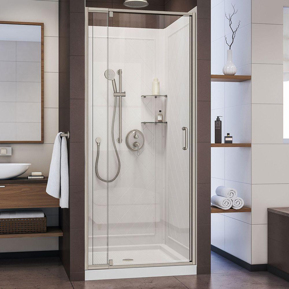 Flex 36 Inch D X 36 Inch W Shower Door In Brushed Nickel With White Base And Backwalls Shower Doors Shower Kits Framed Shower Door