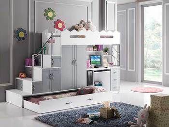 Lit Combine Mezzanine Charlie Coloris Gris Et Blanc Avec Bureau